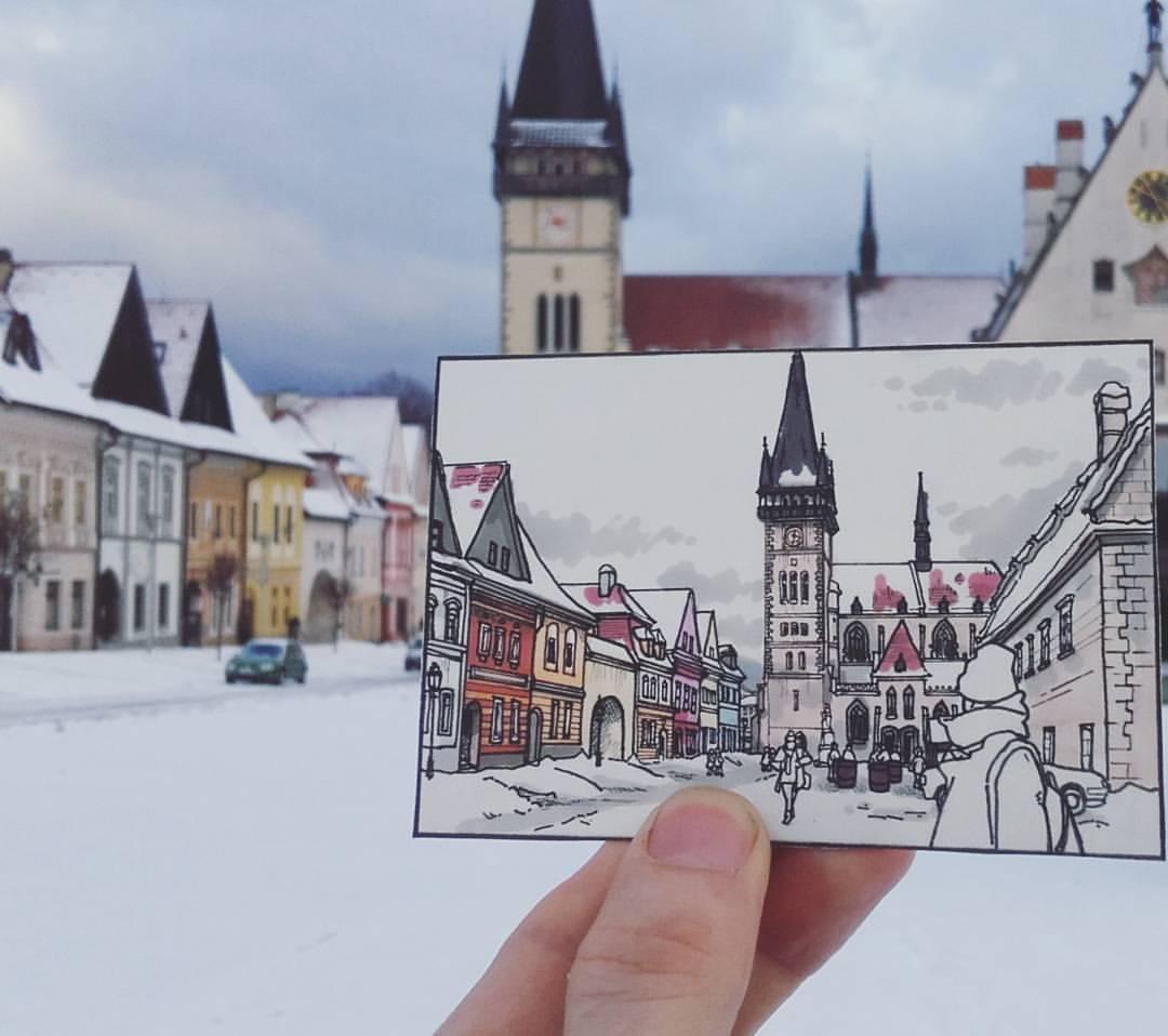 Urban sketch in Bardejov