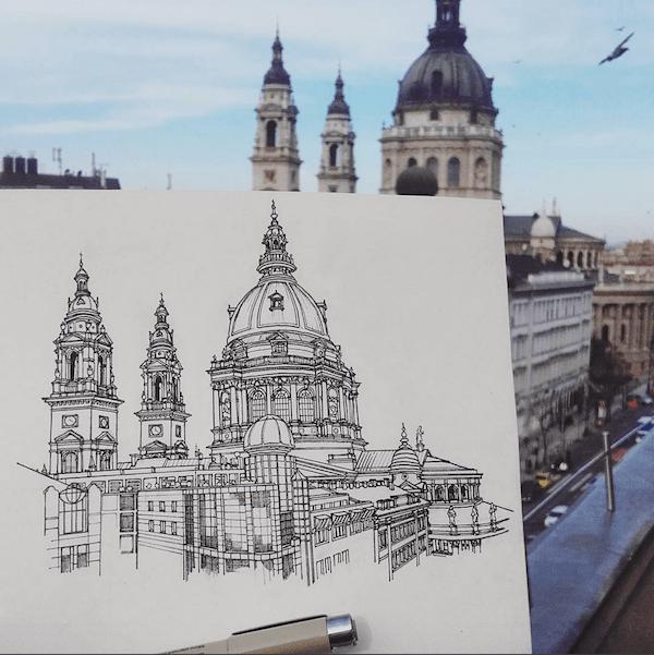 Urban sketch in Budapest
