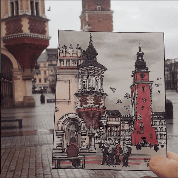 Urban sketch in Krakow